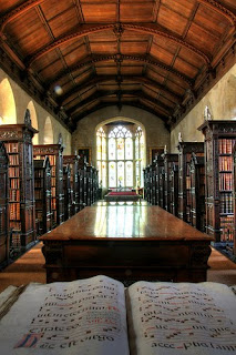 Photo of St John's College Old Library, with the Spanish antiphoner in the foreground, by Ben Gallagher on Flickr