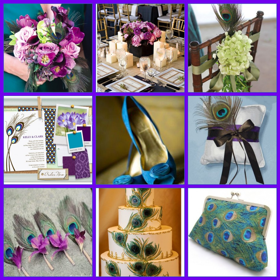 Whimsy Wise Events Custom Inspiration Board Peacock Themed Wedding