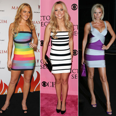 celebrities bandage dresses Victoria Beckham, Lindsay Lohan, Joss Stone and Hayden Pannetierre Herve Leger by Max Azria
