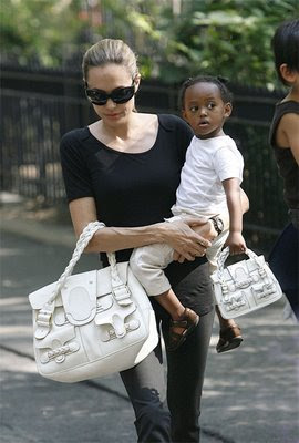Angelina Jolie loves her Valentino Braided Leather Shoulder Bag Zahara Jolie Pitt