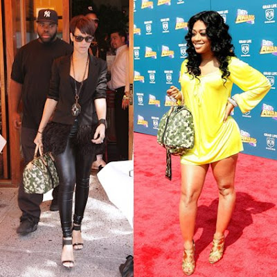 Rihanna and Trina with Louis Vuitton Monogramouflage Speedy Handbag