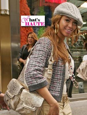 Beyonce with the Sergio Rossi Python 'Gisele' Handbag