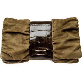 Michael Teperson Shiny Alligator & Suede Clutch
