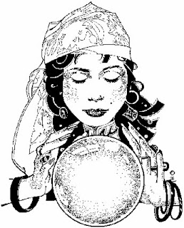 Clairvoyant with crystal ball