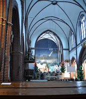 Szopka bożonarodzeniowa zamiast ołtarza - kościół św. Antoniego na Karłowicach - Wrocław