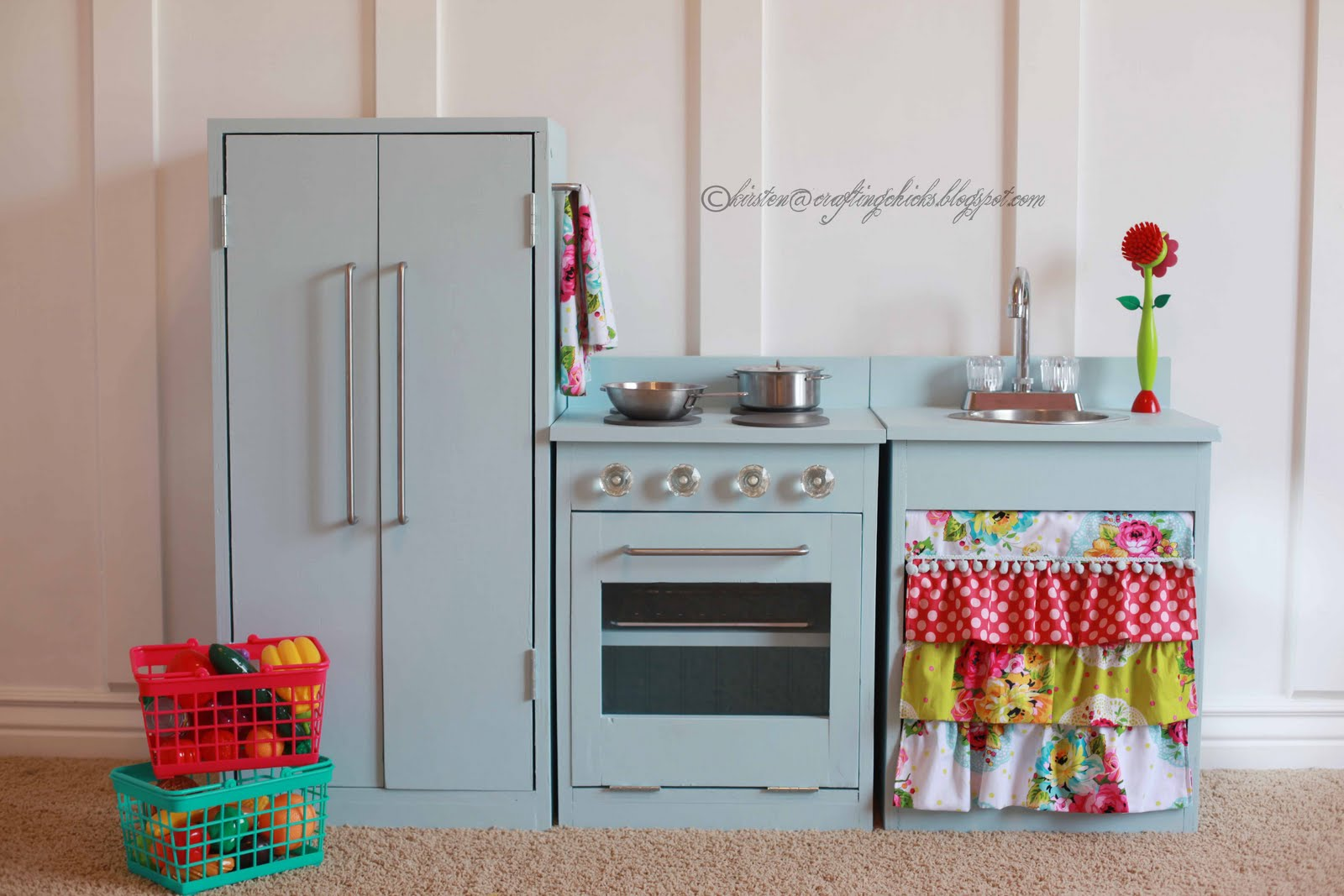 Play Kitchen From Old Furniture Diy Blue Play Kitchen The Crafting Chicks