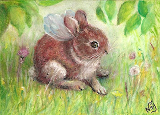 Fairy Bunny ACEO Art Card