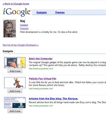 Screenshot of Naj's iGoogle Developer Listing