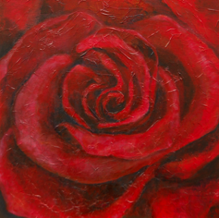 Red Rose on Canvas Finished Artwork