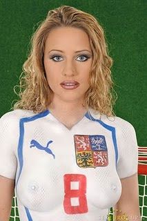 Body Art, Body Paintings, Girl Dressed With Paintings, Painted Soccer Girls, Sexiest Body Art, Sports Dress Body Art, sports illustrated boby paint, Sports Jersey Body Paintings, woman body art