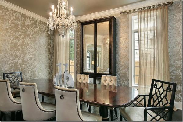 Walls wallpaper inspiration dining room for Wall designs for dining area