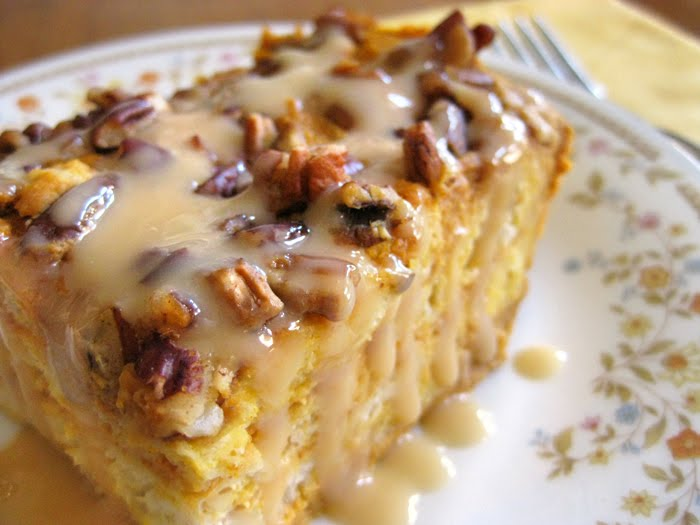 ... : In the Kitchen: Pumpkin Bread Pudding with Bourbon Caramel Sauce