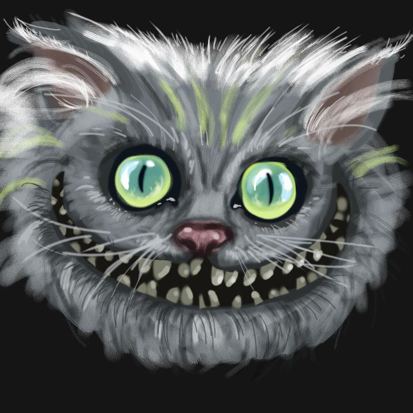 jai essay painter et bien je trouve a dur quand on est habitu photoshop ici le cheshire cat inspir du alice de burton