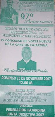 Tríptico informativo acerca de las celebraciones por el 97 aniversario de nuestra provincia Fajardina