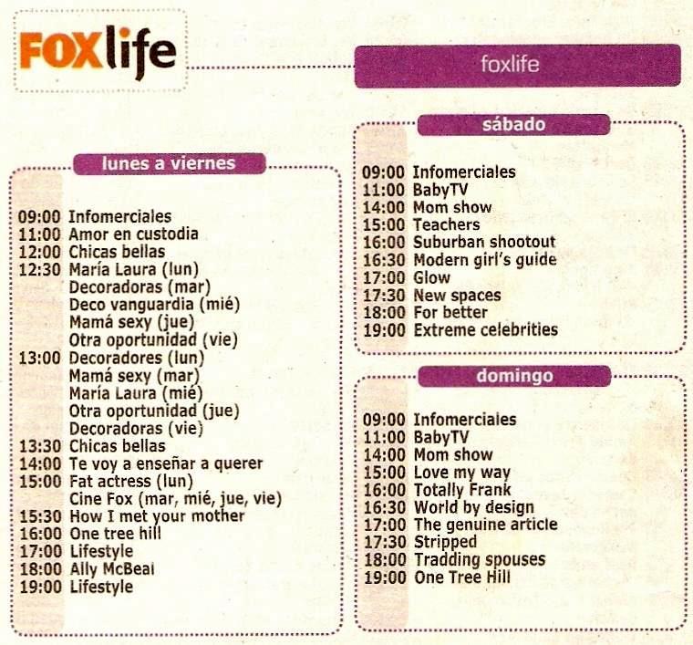 fox tv programacion: