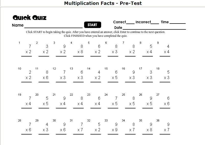 math worksheet : homeschool parent multiplication self correcting timed tests : Thanksgiving Multiplication Worksheet