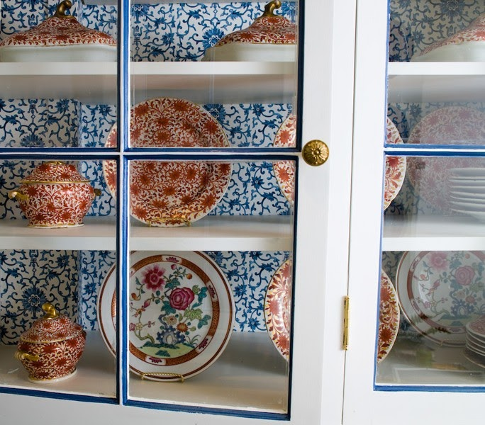 Chinoiserie chic the chinoiserie kitchen - Wallpaper on kitchen cabinet doors ...