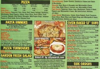 Optmized pizzeria menu