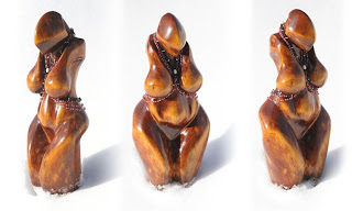 3 views of goddess carving by Martin Bridge