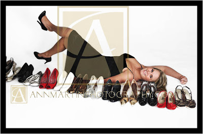 Dallas Texas metroplex and Plano Texas senior girl from PESH professional pictures with shoe collection in studio poses examples