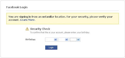 Facebook Security Feature