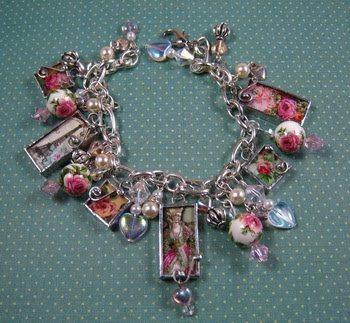 ~ Soldered Cottage Rose Charm Bracelet ~ SOLD