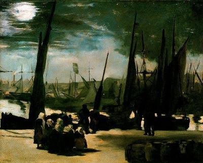 """""""El puerto de Boulogne bajo el claro de la luna"""" - Manet"""