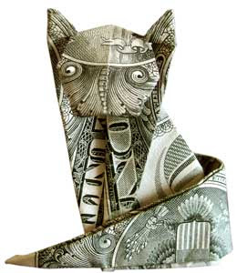 Beautiful money sculptures of Cat