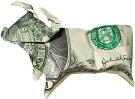 Beautiful money sculptures of Bull