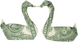 Kissing swans money sculptures created by dollar