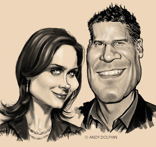 bones & booth caricature