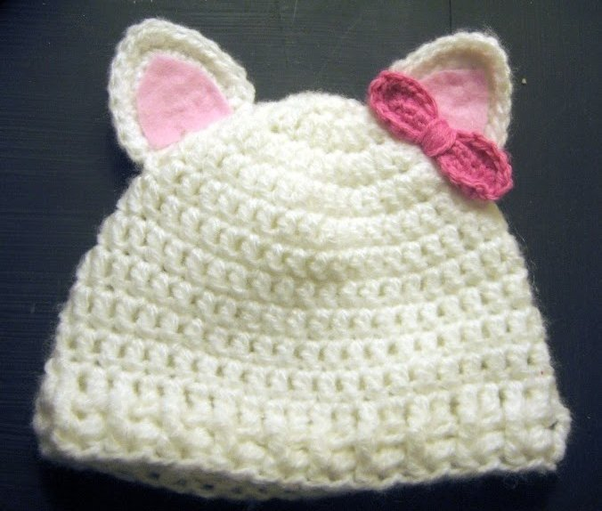 Child's Kitty Cat Ear Flap Hat Crochet Pattern by JacquiJCrochet
