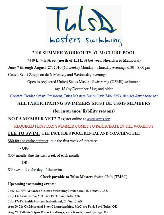 Tulsa Masters Swim Club June 2010