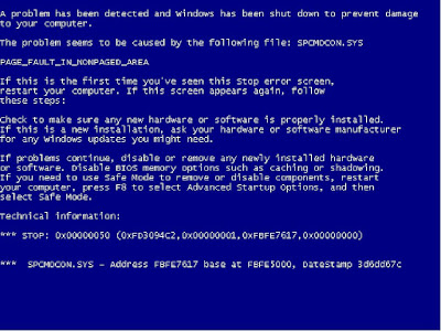 Beberapa Kode Blue Screen pada windows xp