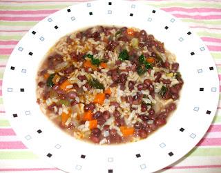 minestra di fagioli Adzuki con riso integrale