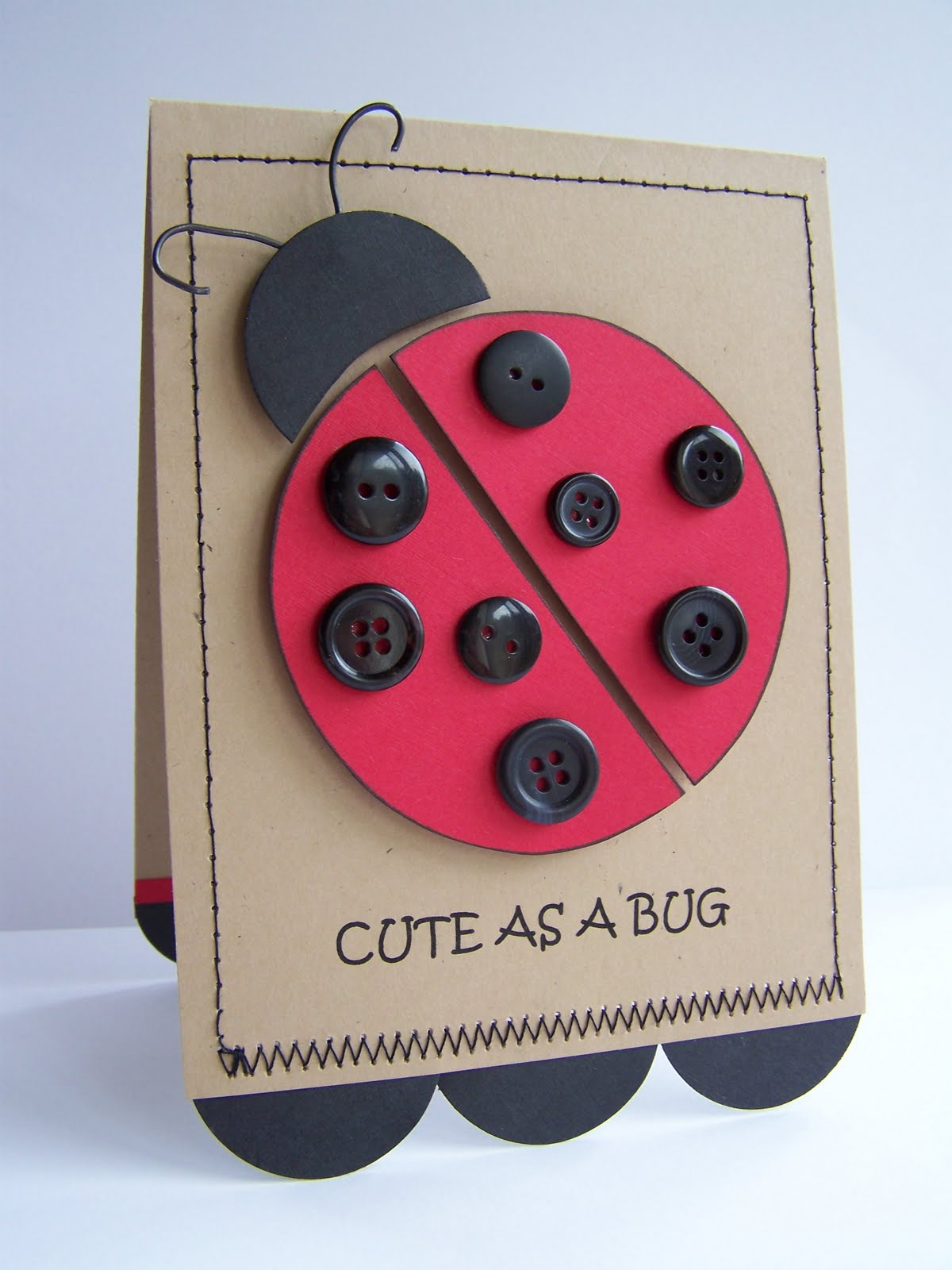 Lady Bug Buttons Crafts