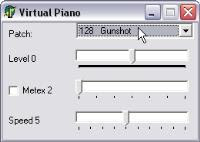 Seu teclado vai virar teclas e cordas de vários instrumentos com este pequeno programa. Este programa minúsculo contém 128 instrumentos diferentes, incluindo barulhos de helicóptero e gritos de torcida,