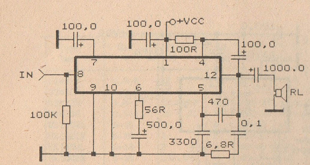Schematic Diagram  Circuit Audio Amplifer With Ic Tba810