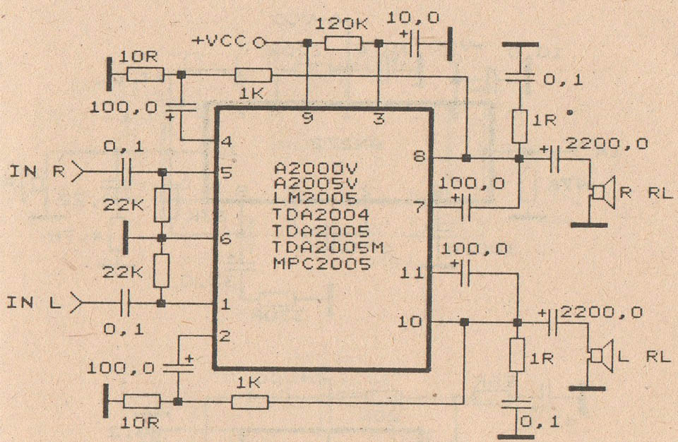 schematic audio amplifier with ic tda2004 subwoofer bass amplifier