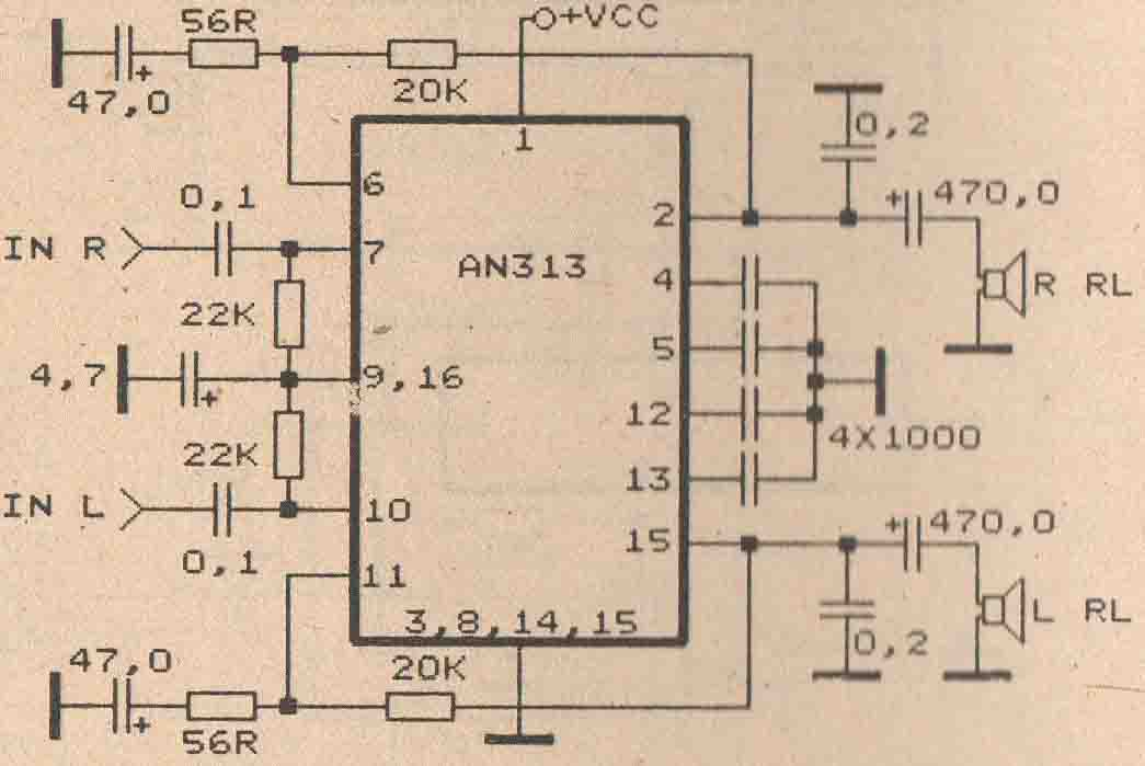 schematic audio amplifier with ic an313 subwoofer bass amplifierschematic audio amplifier with ic an313