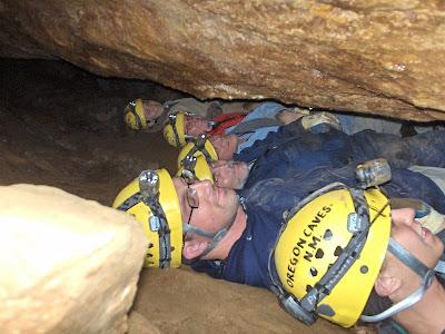 Visitors on wild cave tour Oregon Caves National Monument Oregon