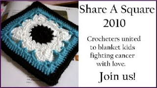 Share a Square badge: Left side has a photo of a black, blue and white crocheted granny square. Text in a white box on the left reads: Share a Square 2010. Crocheters united to blanket kids fighting Cancer with love. Join Us!