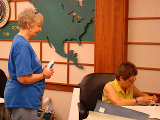 Jo Stealey instructs Mary Lee Fulkerson in her Books, Baskets and Shrines class