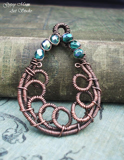 copper artisan wire wrap gypsy pendant