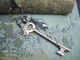 steampunk silver vintage skeleton key pendant