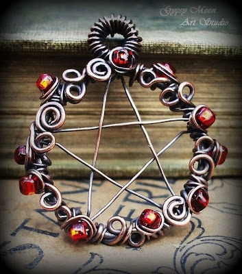 handmade wirewrapped copper pentacle
