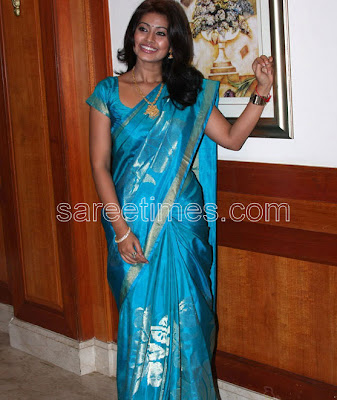 Sneha in Enchanting Blue Silk Sari | sareetimes