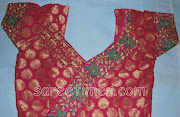 Designer Saree Blouse Designs for Back. Patch work banaras saree blouse .