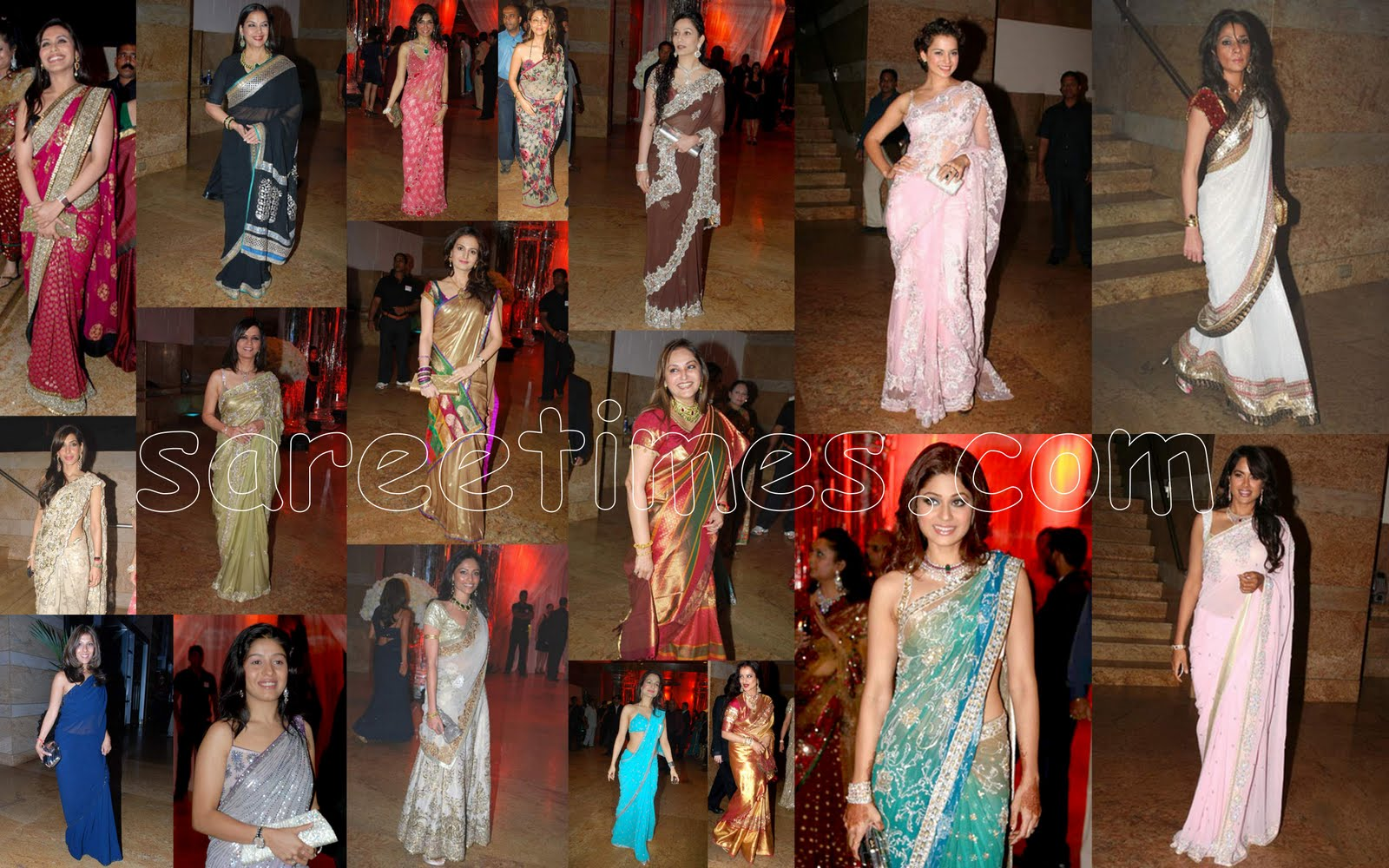 Celebrities In Sarees At Shilpa Shettys Wedding Reception