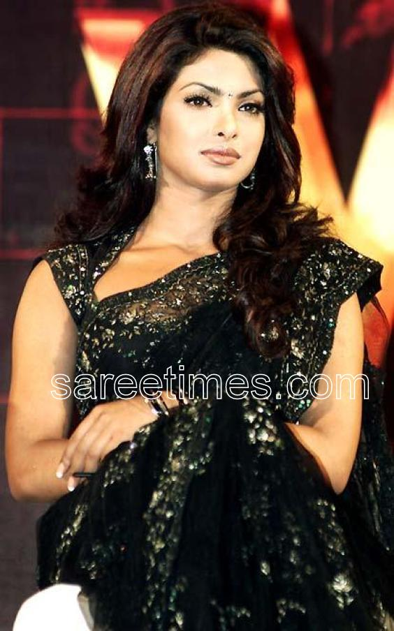 Bollywood actress Priyanka Chopra in timeless embellished black saree